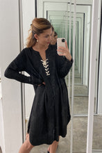 Load image into Gallery viewer, Lace Up V Neck Loose Tunic Dress