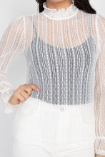 Load image into Gallery viewer, Ruffle Mock Neck Lace Top