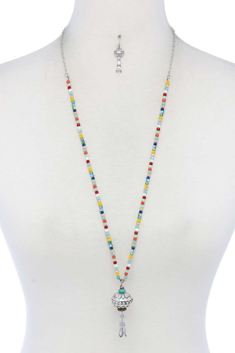 Metal Charm Beaded Necklace