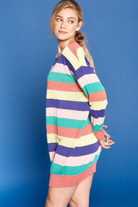 Multi-colored Striped Knit Sweater Dress