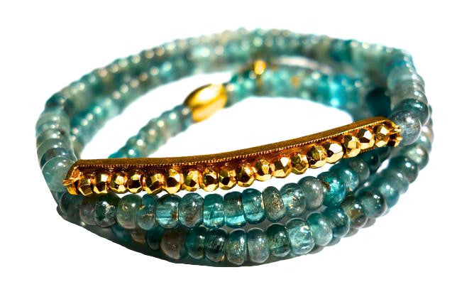 C904G 3x aqua and golden pyrite