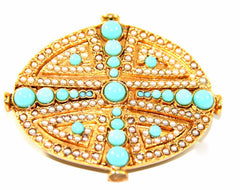 HP040G art deco oval barrette