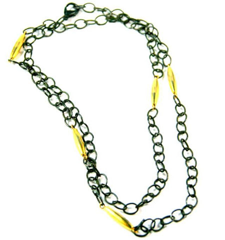 N763 long chain link necklace