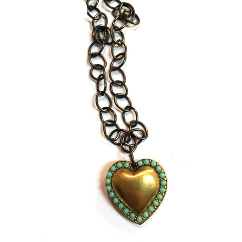 N1013G/S studded heart necklace
