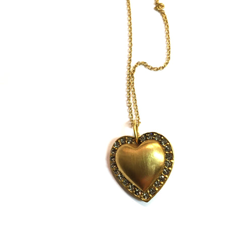 N1014G thin chain studded heart