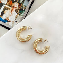 Load image into Gallery viewer, Gold Tube Mini Hoops