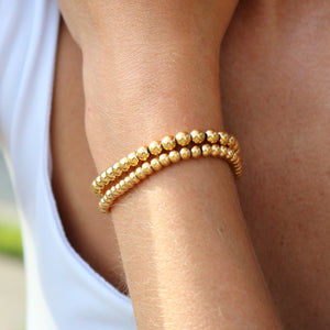 Gold Ball Bracelets (set of 2)