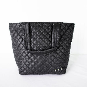 Large Black Quilted Tote