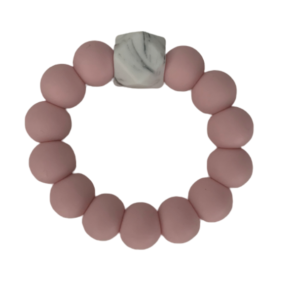 Silicone Beaded Teether Pink