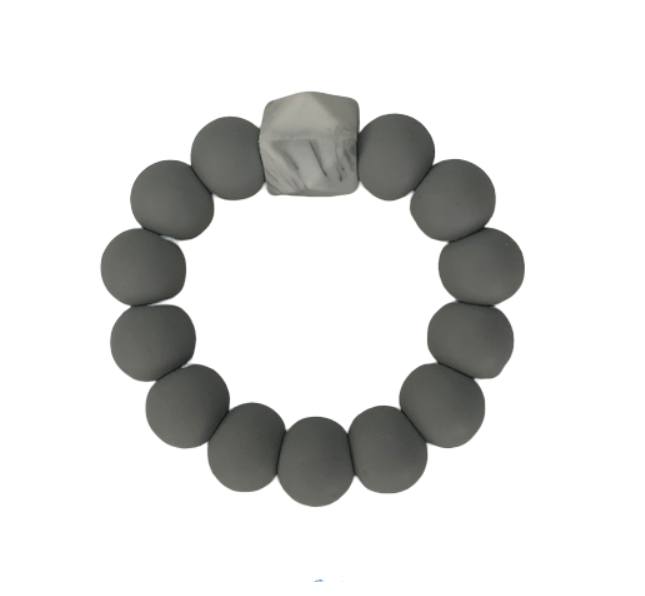 Silicone Beaded Teether Grey