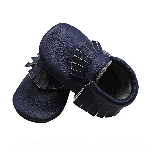 Leather Moccasins Navy