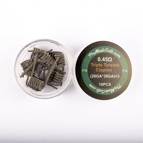 Triple Twisted Clapton 0.45 Ohm Pre-Made Coils