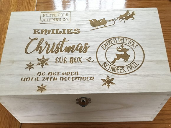 Custom Engraved Wooden Christmas Eve box