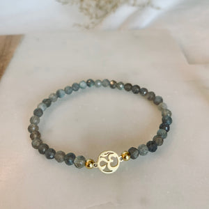 "Armband - Labradorit mit goldenem Element ""Ohm"""