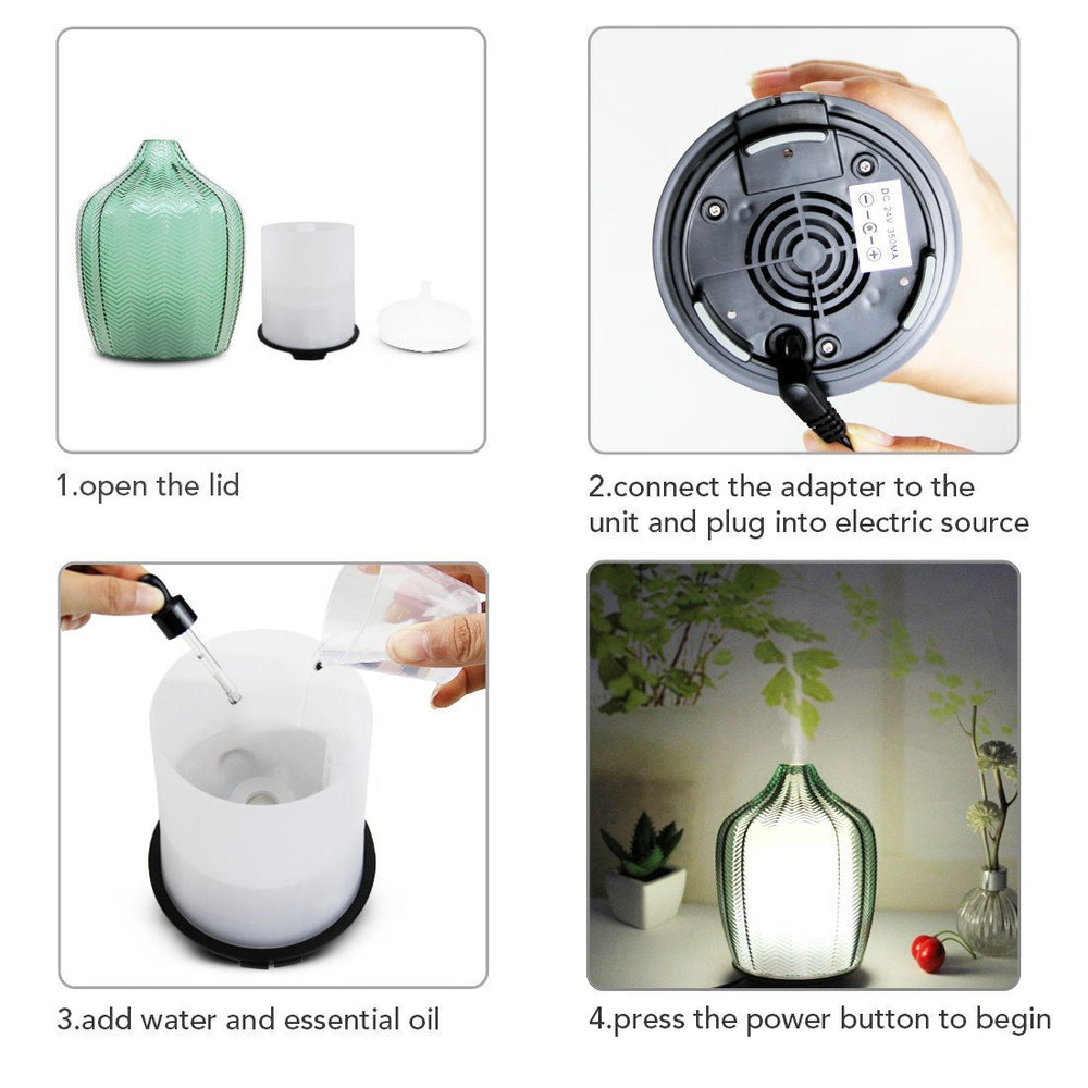 Glass Aroma Diffusers With Cool Mist for Home Decoration