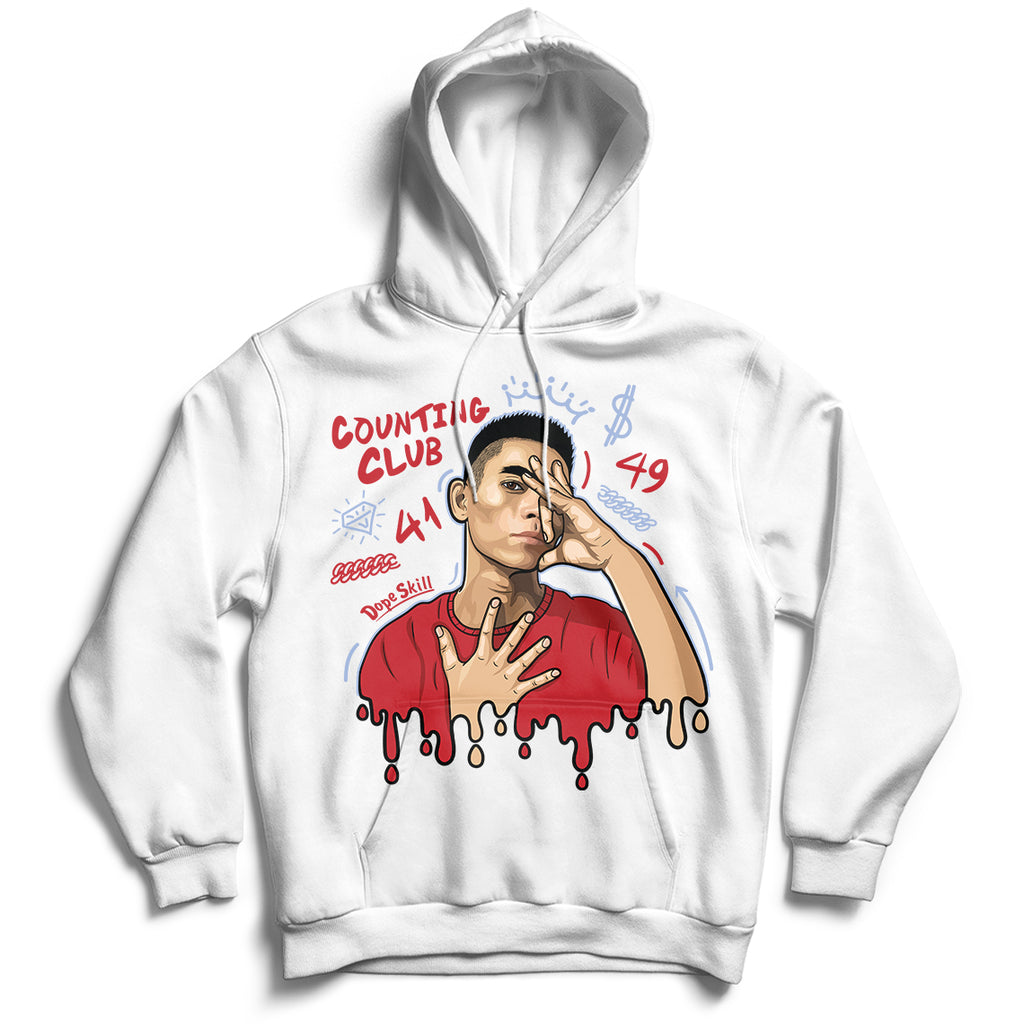 Counting Club Unisex Hoodie Jordan 5 Retro Fire Red Tee