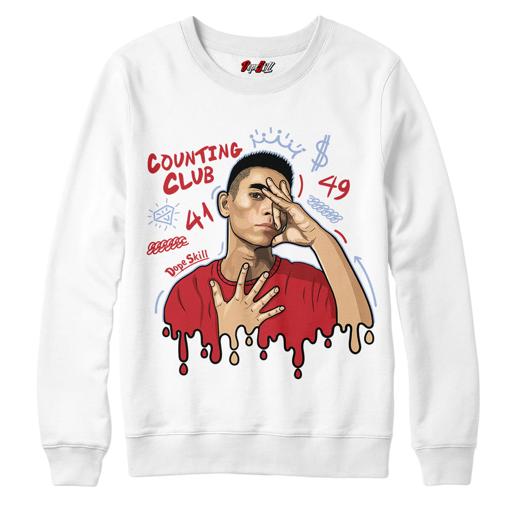 Counting Club Crewneck Sweatshirt Jordan 5 Retro Fire Red Tee