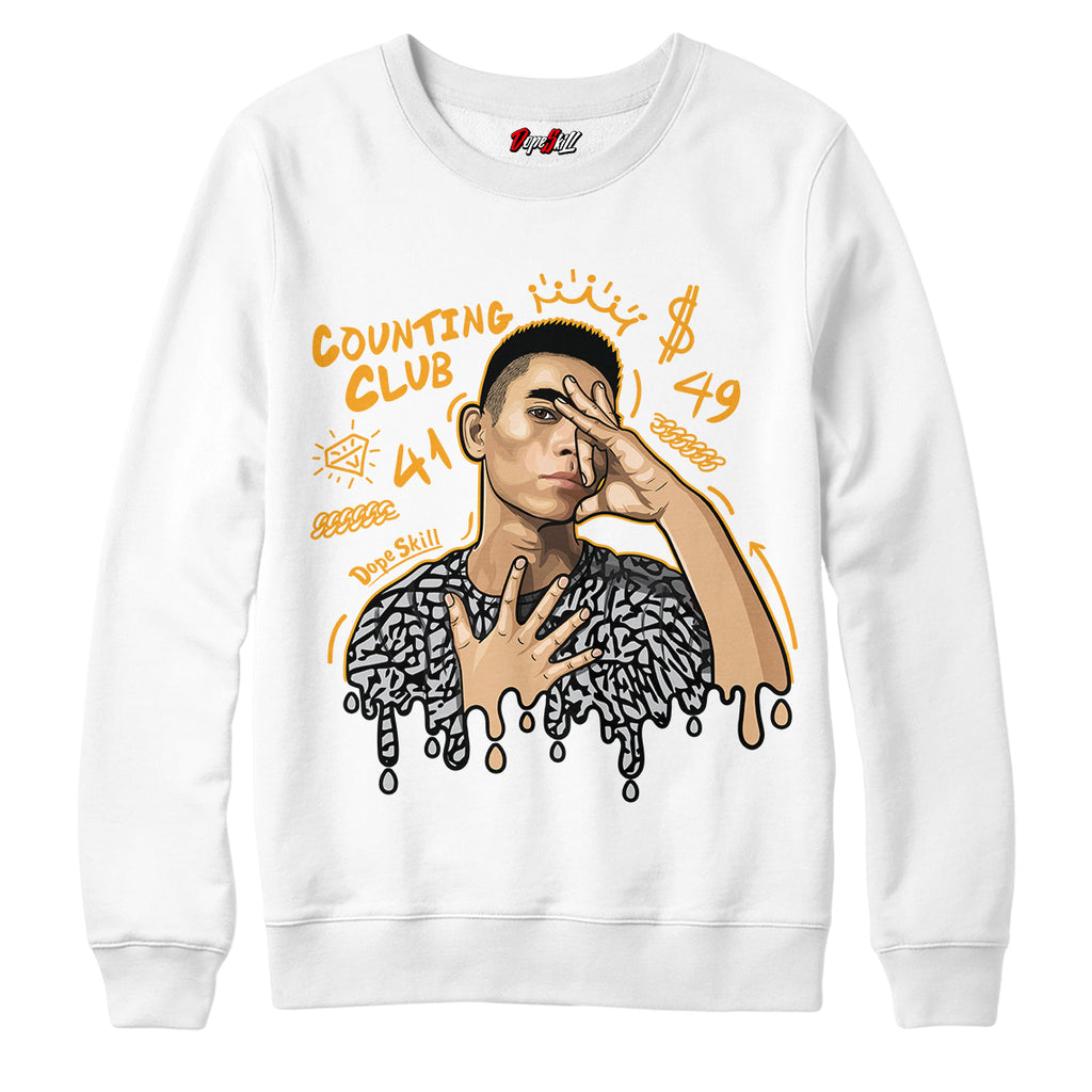 "Counting Club Crewneck Sweatshirt Match Air Jordan 3 ""Laser Orange"""