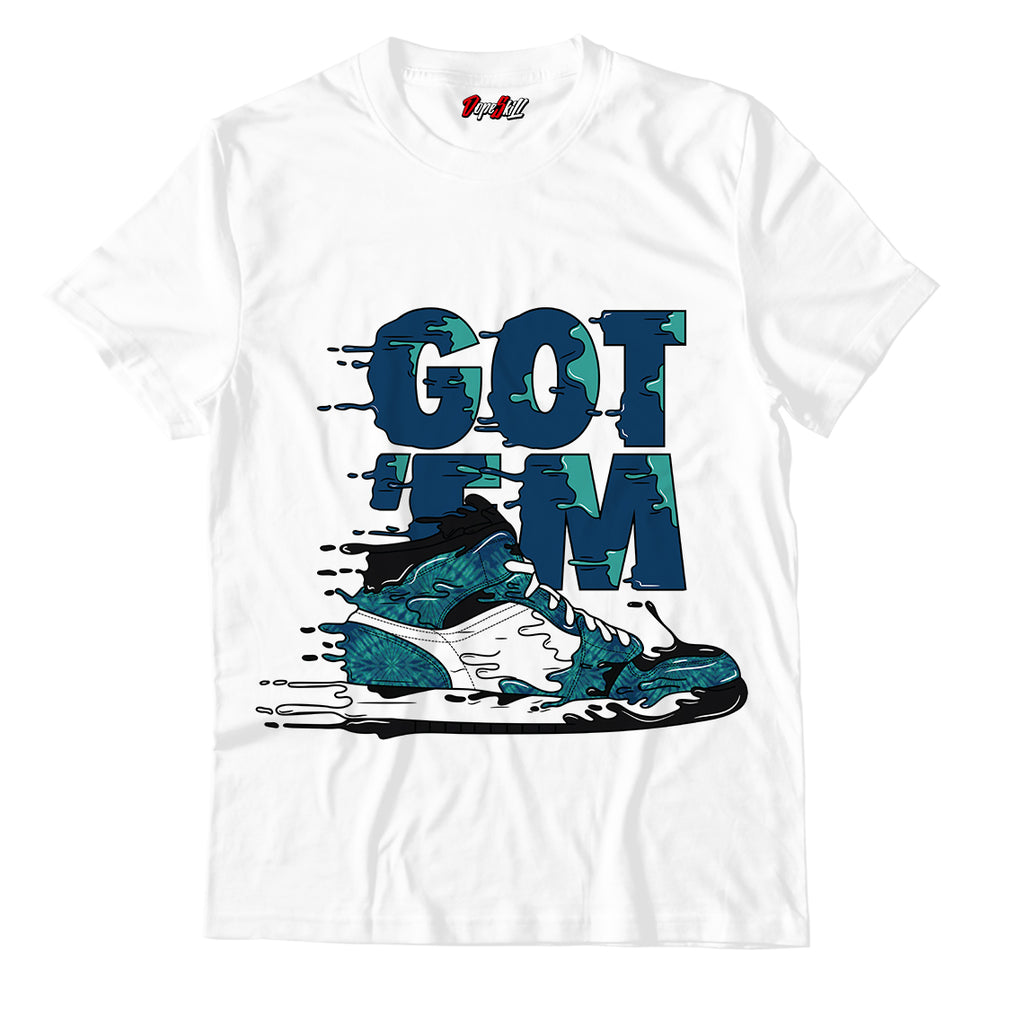 Got 'em White Unisex TShirt Match Jordan 1 Retro High OG Tie Dye