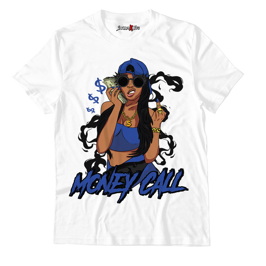 Money Call White Unisex TShirt Match Air Jordan 14 Royal