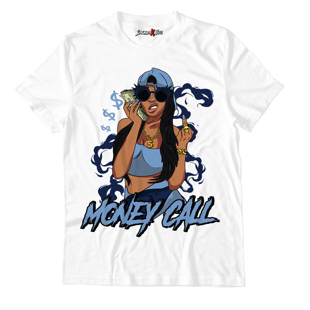 Money Call White Unisex TShirt Match Air Jordan 12 Indigo