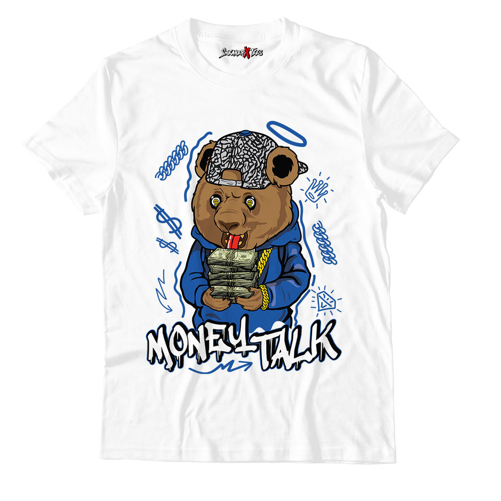 Money Talk Bear Unisex TShirt Match Air Jordan 3 Varsity Royal