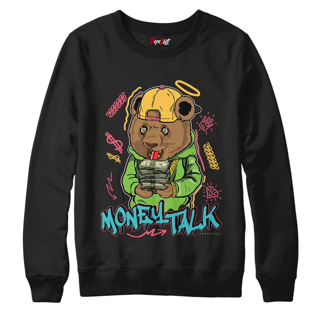 Money Talk Bear Crewneck Sweatshirt Match Air Jordan 1 High OG Bio Hack