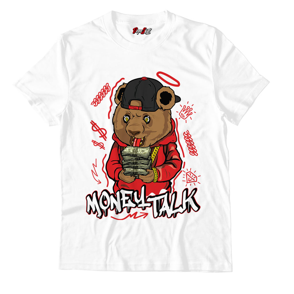 Money Talk Bear Unisex TShirt Jordan 1 Mid Chicago Toe - Jordan 1 Retro High Satin Snake Chicago