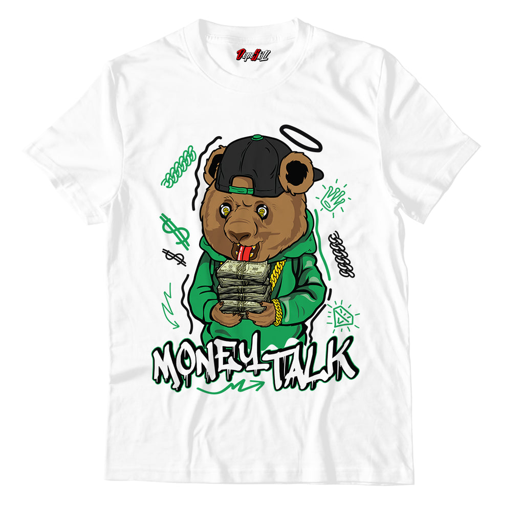 "Money Talk Bear White Unisex TShirt Match Air Jordan 13 ""Lucky Green"""