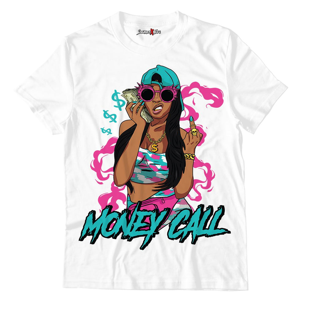 Money Call White Unisex TShirt Match Air Jordan 8 Retro 'South Beach'