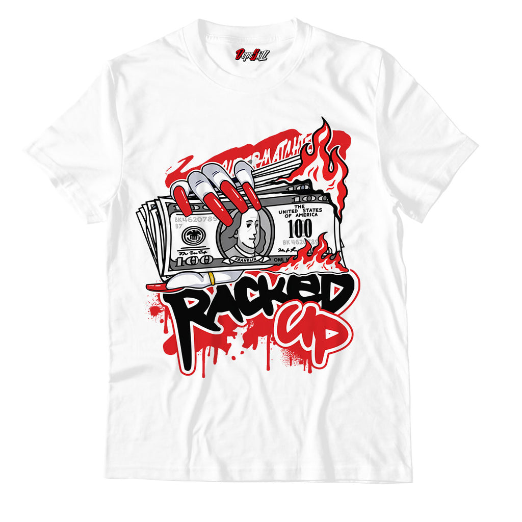 Racked Up Unisex TShirt Jordan 1 Mid Chicago Toe - Jordan 1 Retro High Satin Snake Chicago