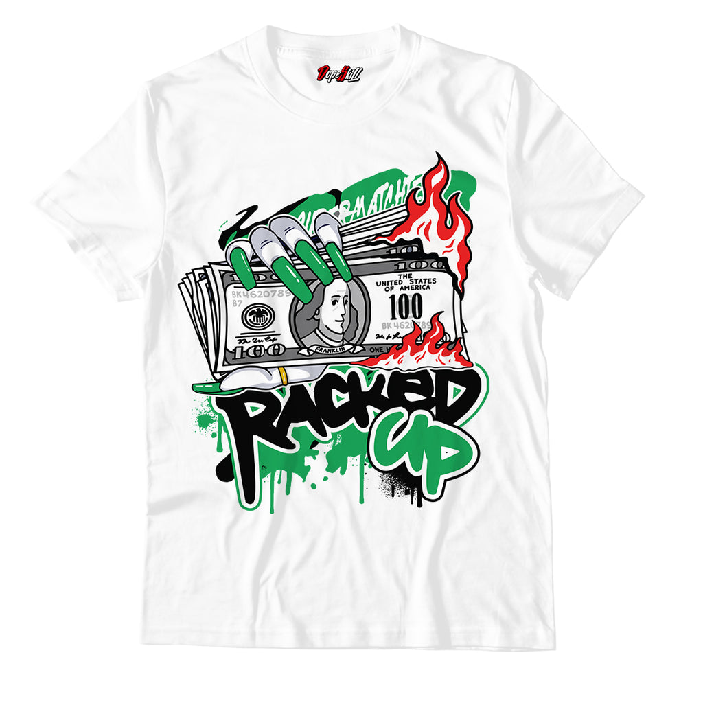 "Racked Up White Unisex TShirt Match Air Jordan 13 ""Lucky Green"""