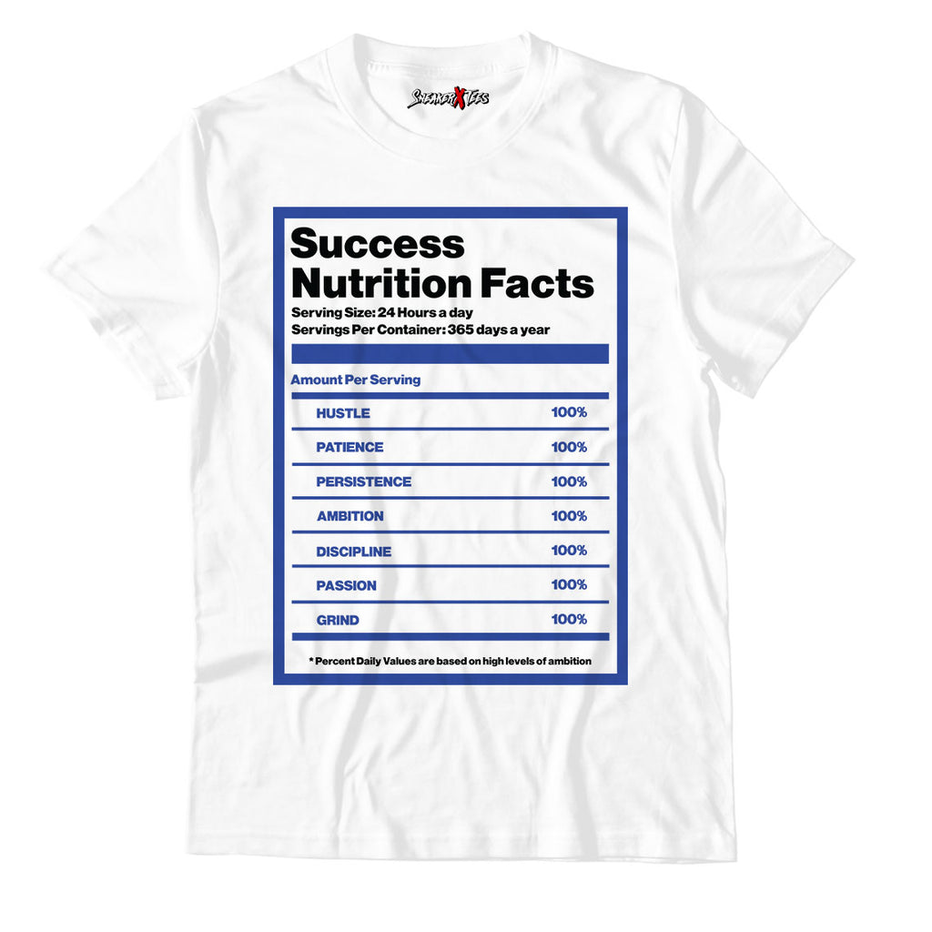 Success Nutrition Facts White Unisex TShirt Match Air Jordan 14 Royal