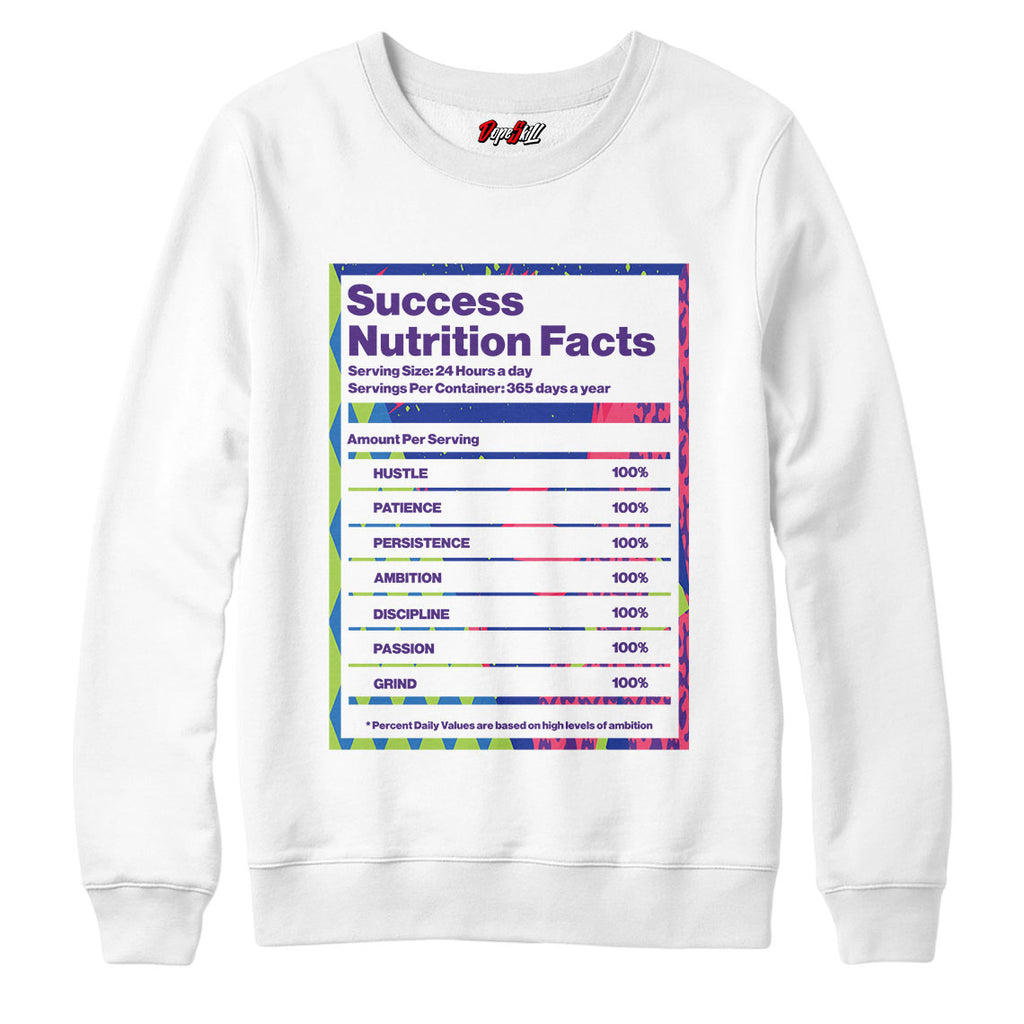 "Success Nutrition Facts Crewneck Sweatshirt Match Air Jordan 5 ""Bel-Air"""