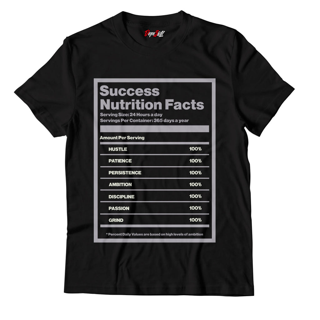 "Success Nutrition Facts Black Unisex TShirt Match Yeezy Boost 350 V2 ""Carbon"""