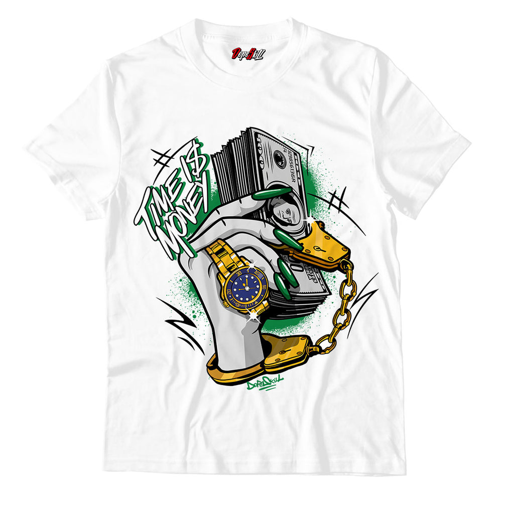 "Time Is Money White Unisex TShirt Air Jordan 13 ""Lucky Green"""