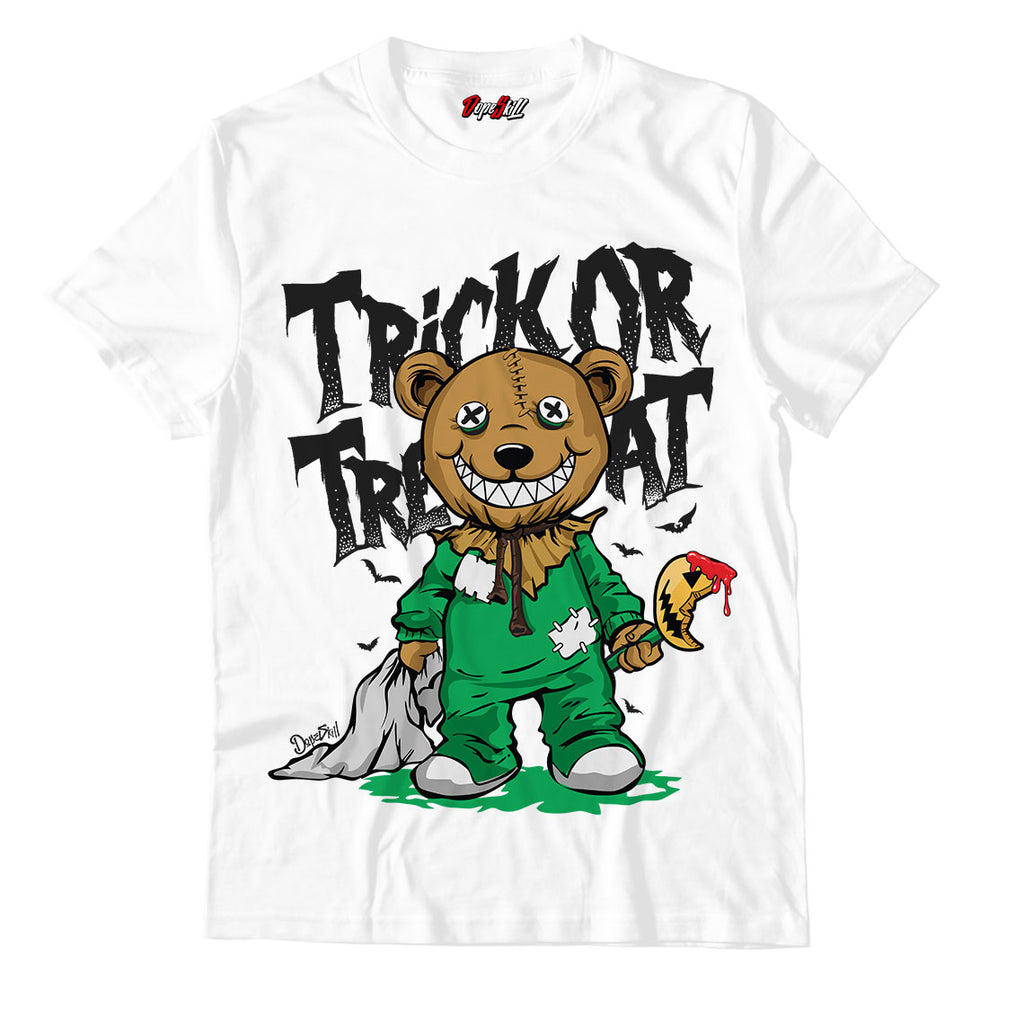 Trick Or Treat White Unisex TShirt Match Air Jordan 1 WMNS Lucky Green