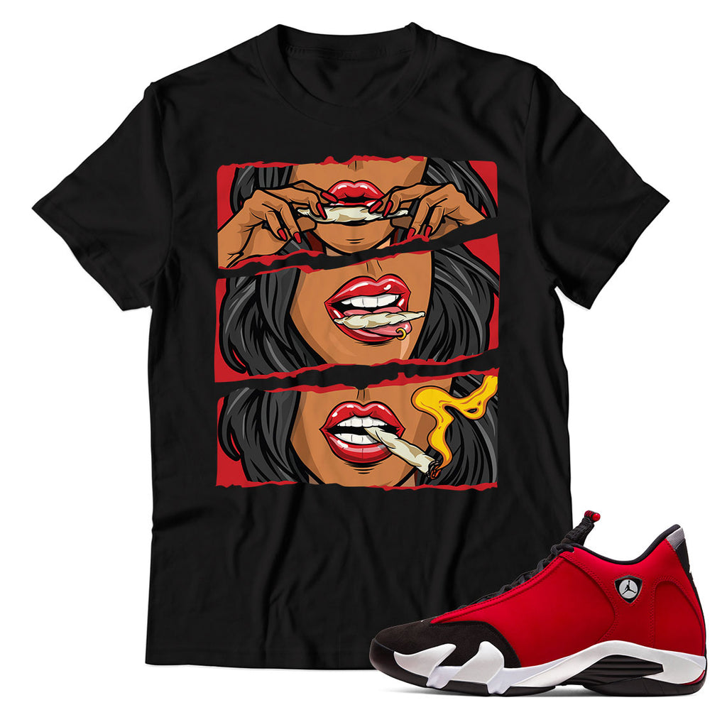 Women Rolling Blunt Unisex TShirt Match Jordan 14 Gym Red Toro