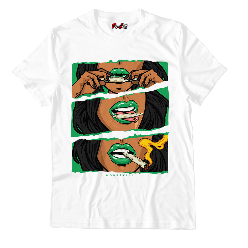"Women Rolling Blunt White Unisex TShirt Match Air Jordan 13 ""Lucky Green"""