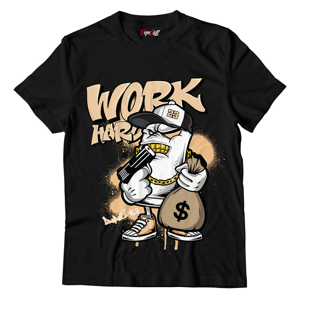 Work Hard Unisex TShirt Match Air Jordan 4X Off White