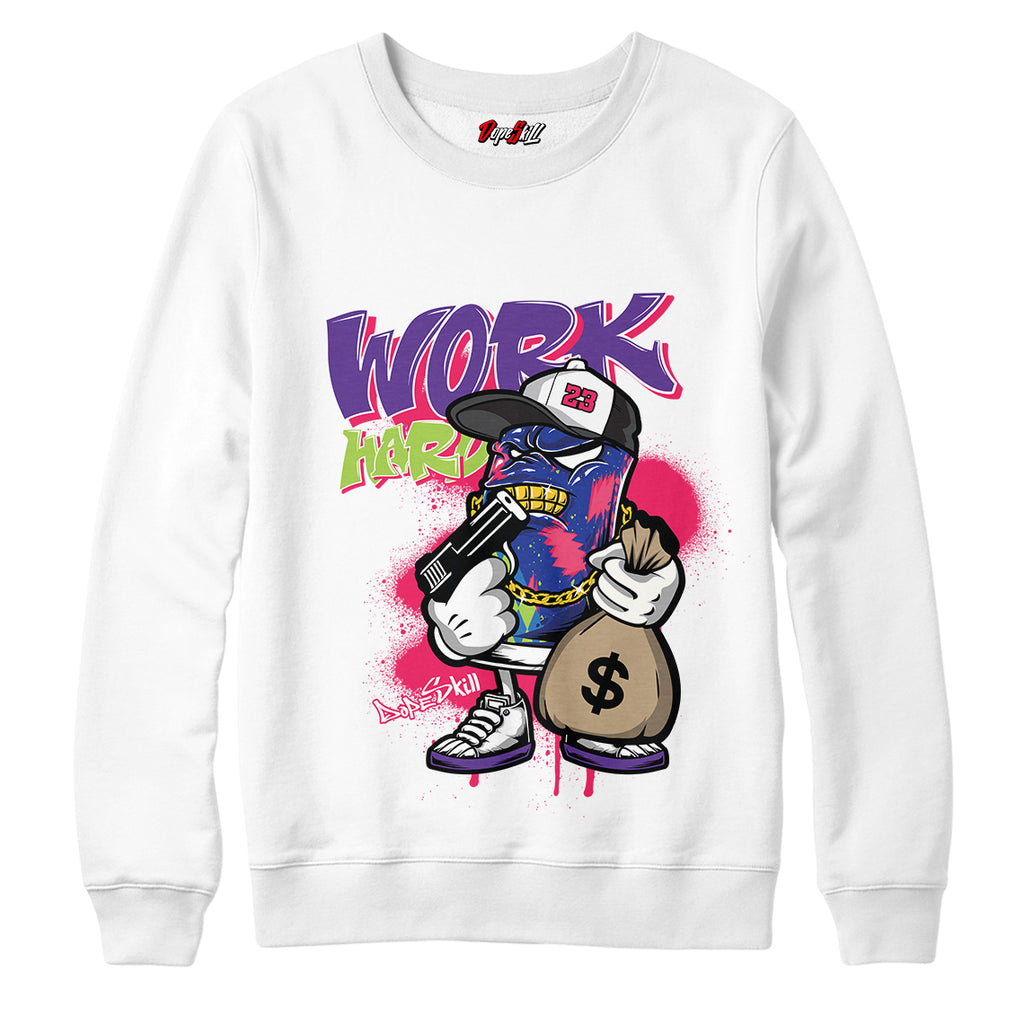 "Work Hard Crewneck Sweatshirt Match Air Jordan 5 ""Bel-Air"""