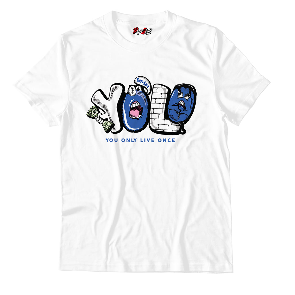 Y.O.L.O Unisex TShirt Match Retro Jordan 1 Royal Toe