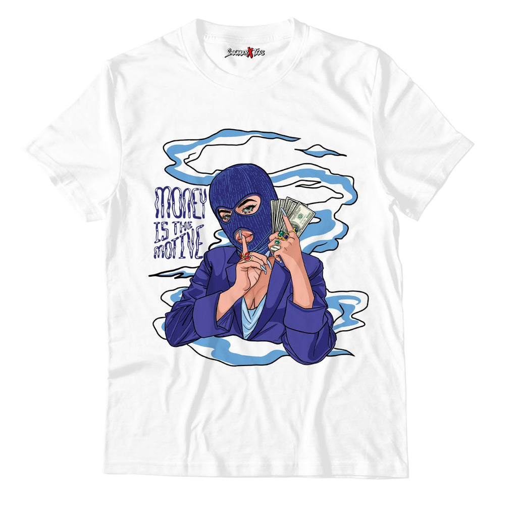 Money Is The Motive White Unisex TShirt Match Jordan 11 Low WMNS Concord Sketch
