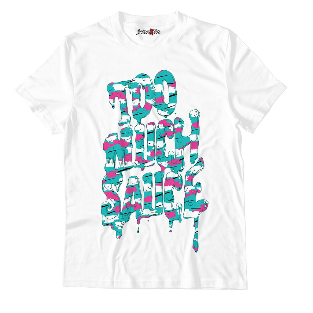 Too Much Aauce White Unisex TShirt Match Air Jordan 8 Retro 'South Beach'