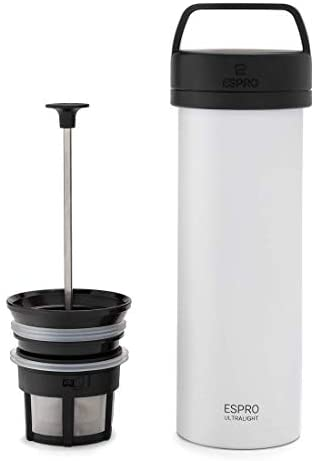 ESPRO P0 Ultralight Double Walled Stainless Steel Vacuum Insulated Travel Coffee French Press, 16 Ounce, Chalk White