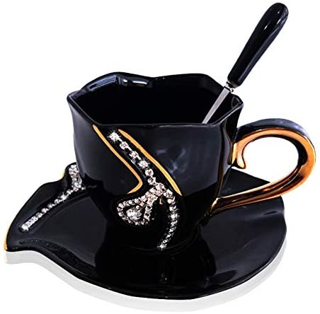 SZHAIYU Coffee Mug Diamonds Creative Gift Lovers Tea Cups Coffee cup 3D Ceramic Mugs With Rhinestones Decoration Cups And Saucers(black)