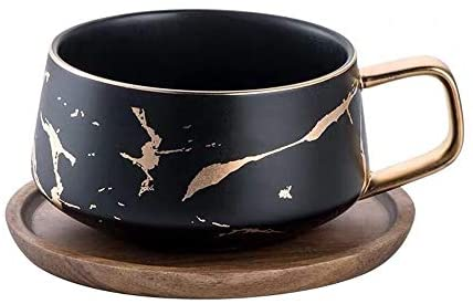 Coffeezone Matte Ceramic Marble Coffee Cup, Black