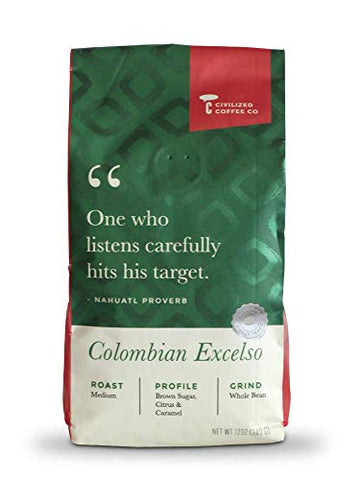 Civilized Coffee Colombian Excelso Whole Bean
