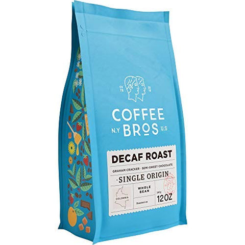 Coffee Bros, Whole Bean, Decaf Medium Roast, Single Origin, 12oz Bag, Gourmet