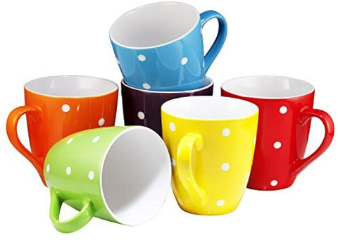 6 Large-sized 16 Ounce Ceramic Coffee Mugs
